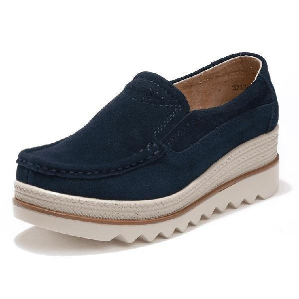 Breathable Women Suede Platform Shoes Slip On Loafers