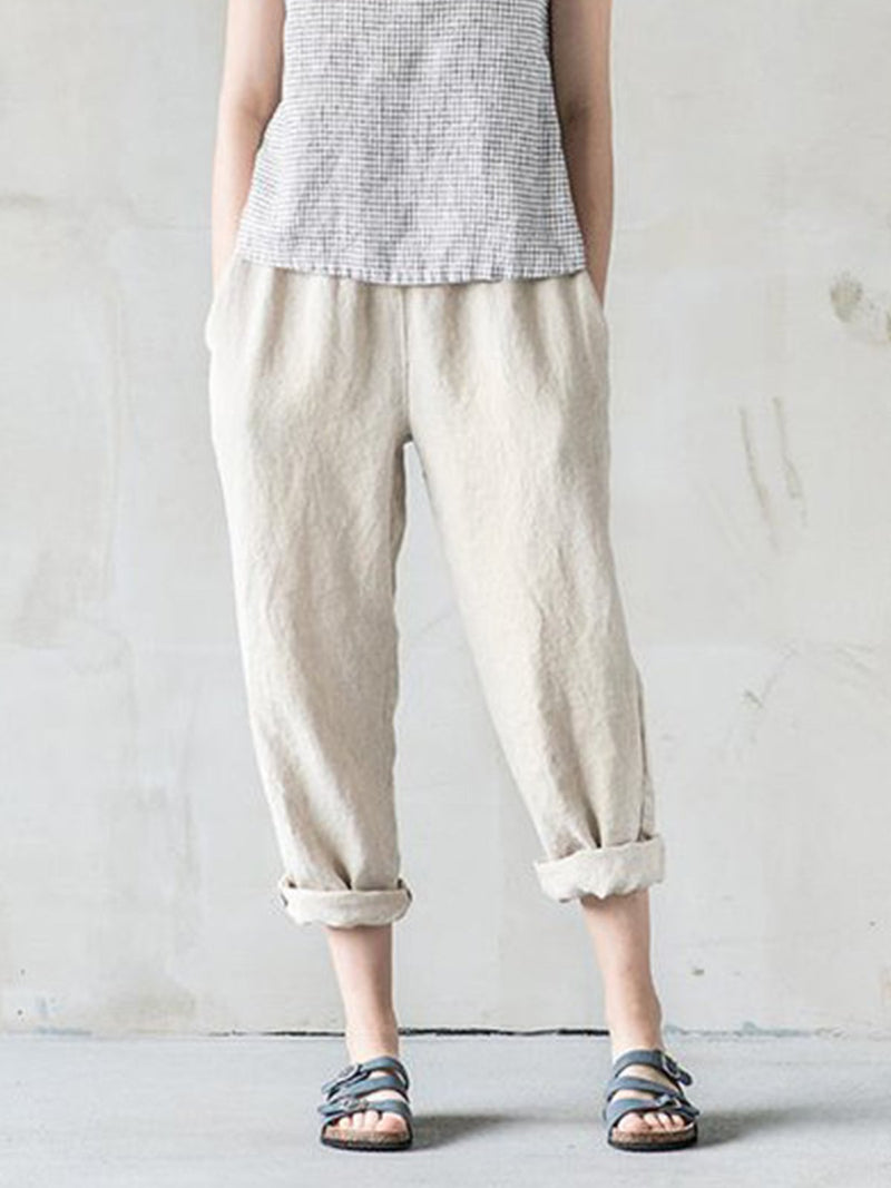 Plus Size Women Solid Cotton Loose Casual Pants