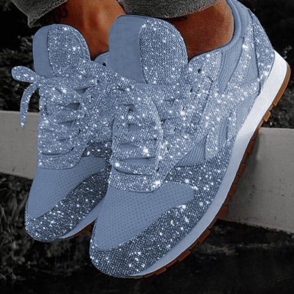 Women Lace Up Muffin Rhinestone New Crystal  Platform Sneakers