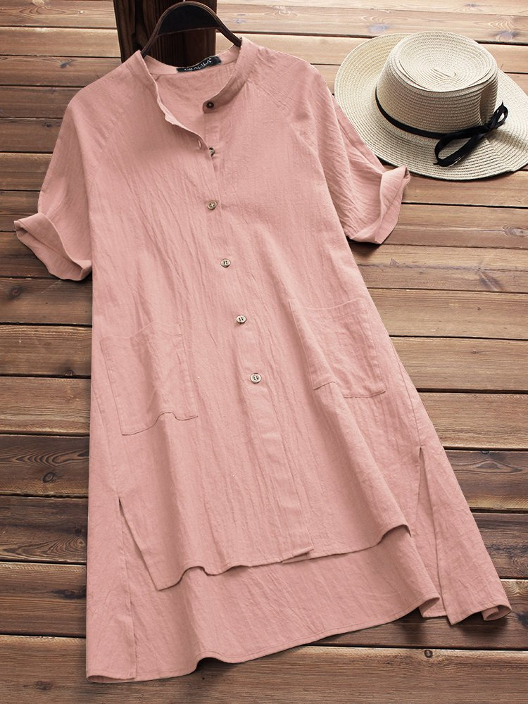 Stand Collar High Low Short Sleeve Slit Solid Casual Dress