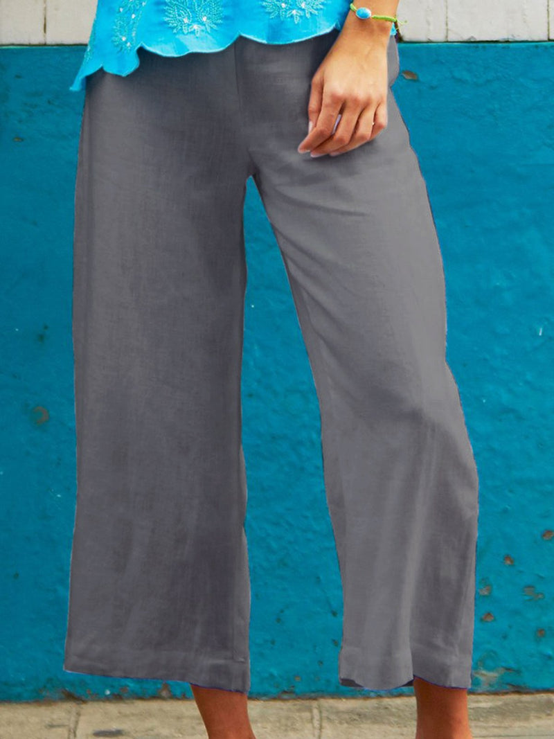 Casual Paneled Linen Pants