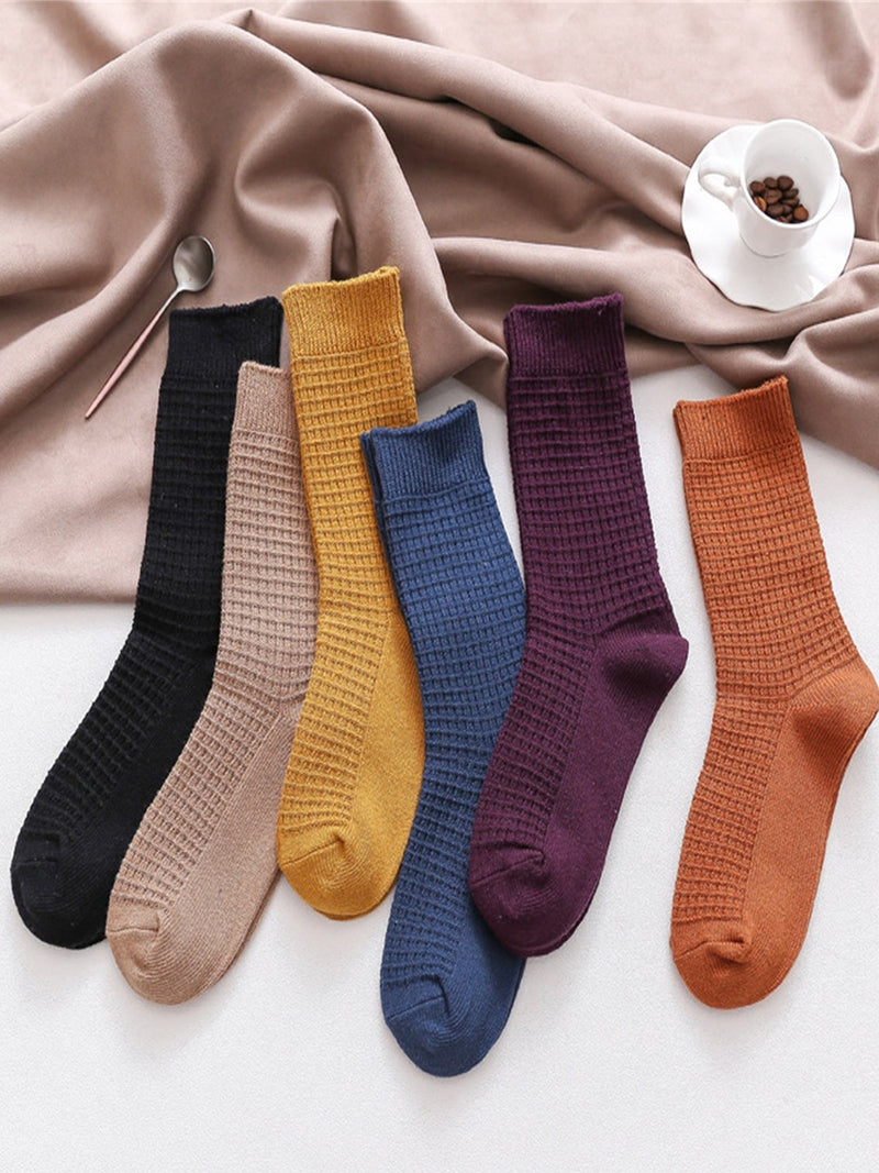 Vintage Plain Double-needle Retro Plaid Tube Warm Casual Socks