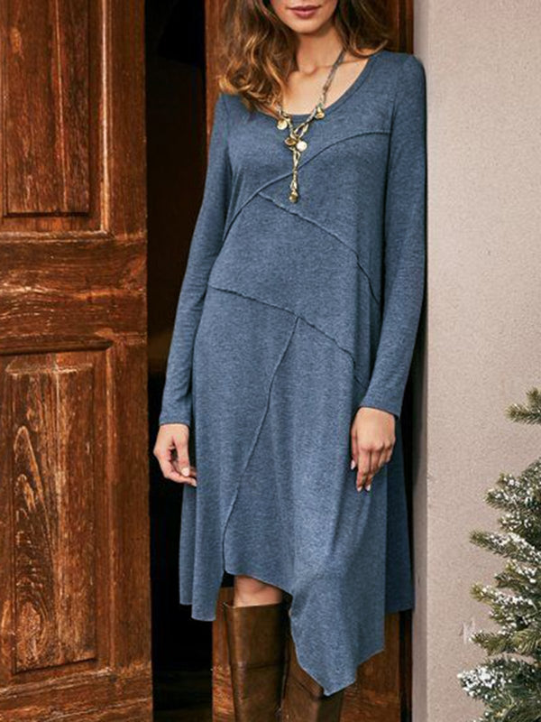 Gray Plain Crew Neck Casual Dresses
