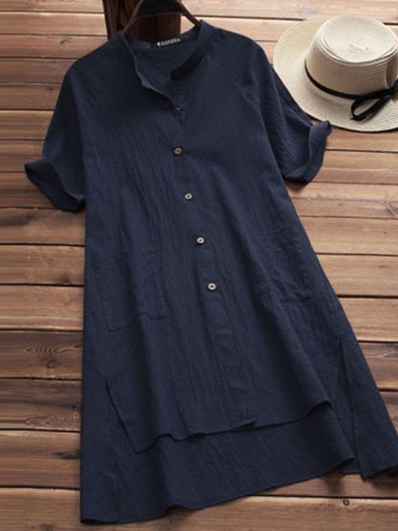 Buttoned Asymmetrical Casual Solid Shirt