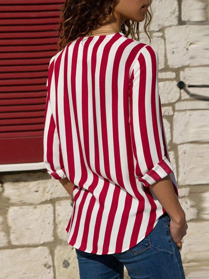 Long Sleeve V Neck Striped Shirts & Tops