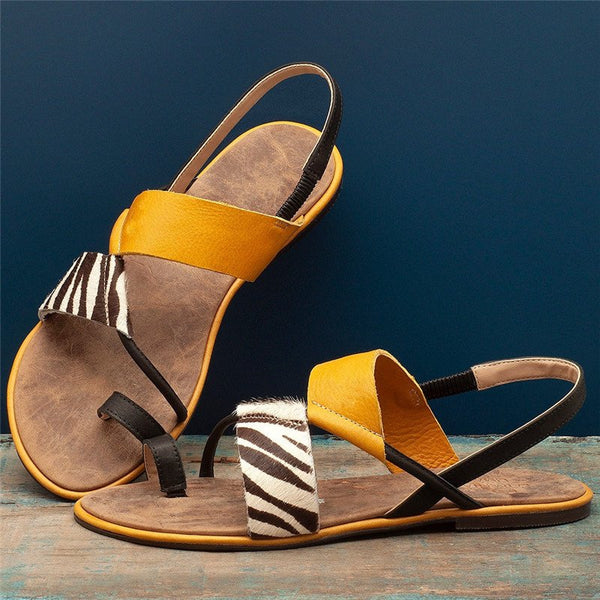 Women Casual Daily Toe Ring Slip On Flat Sandals
