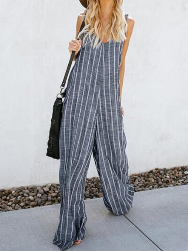Pockets Striped Spaghetti Plus Size Jumpsuits
