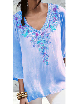 Boho Chic Floral Printed V-neck Shirts