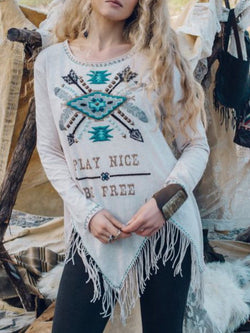 Tribal Printed Vintage Crew Neck Shirts & Tops