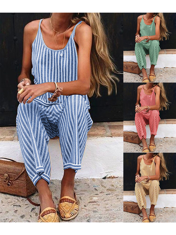 Summer Striped Spaghetti-Strap Casual Jumpsuits