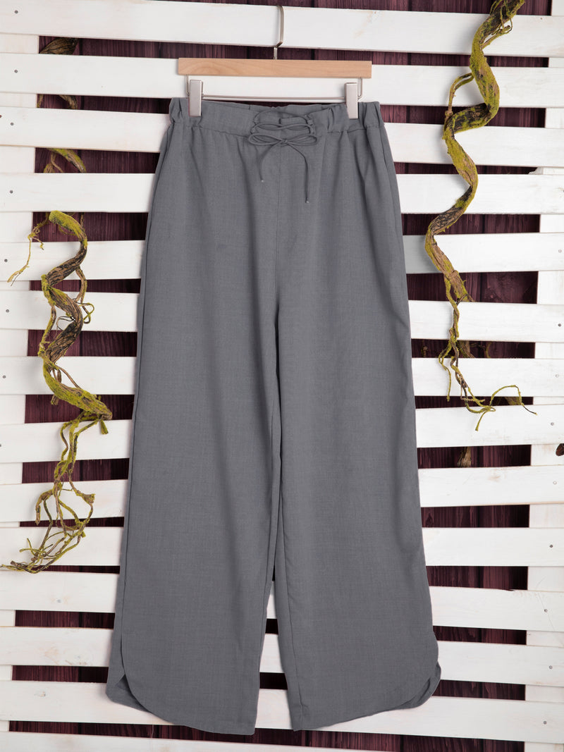 Solid Linen Paneled Pants