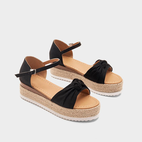 Pi Clue Artificial Leather Bowknot Daily Sandals