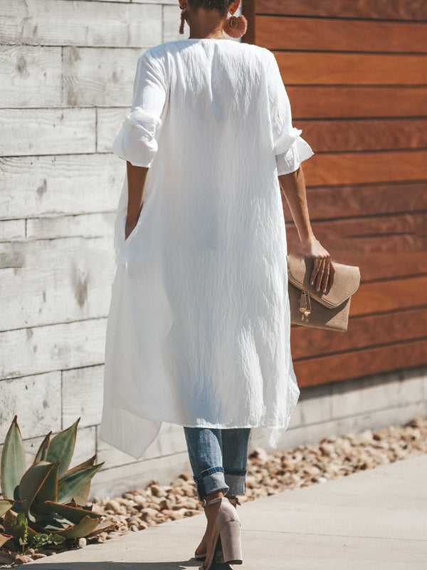 White Elegant Long Sleeve Pockets Solid Trench Coat