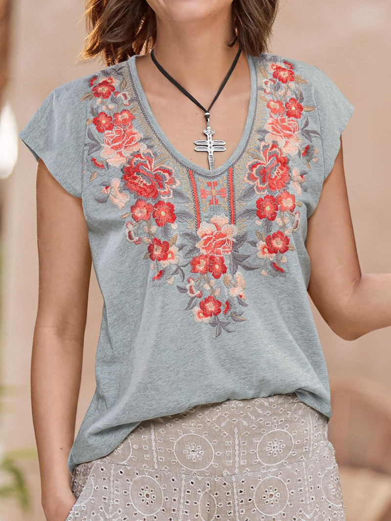 Floral V Neck Casual Shirts