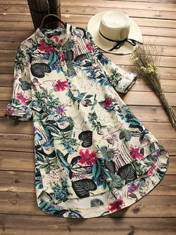 Plus Size Vintage Floral Printed Shirt Collar Long Sleeve Blouse