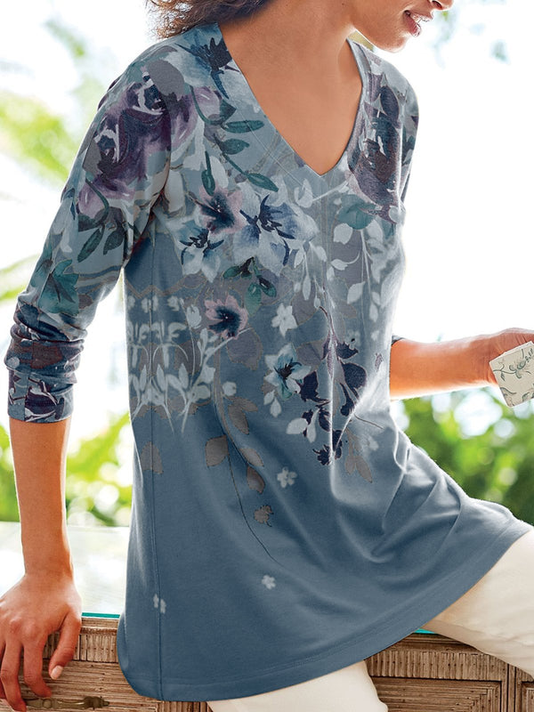 Floral-Print Long Sleeve Floral Tops