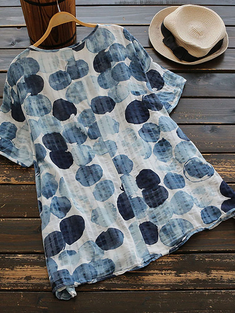Women Printed Top Blouse Ladies Short Sleeve T-Shirt Dress Plus Size