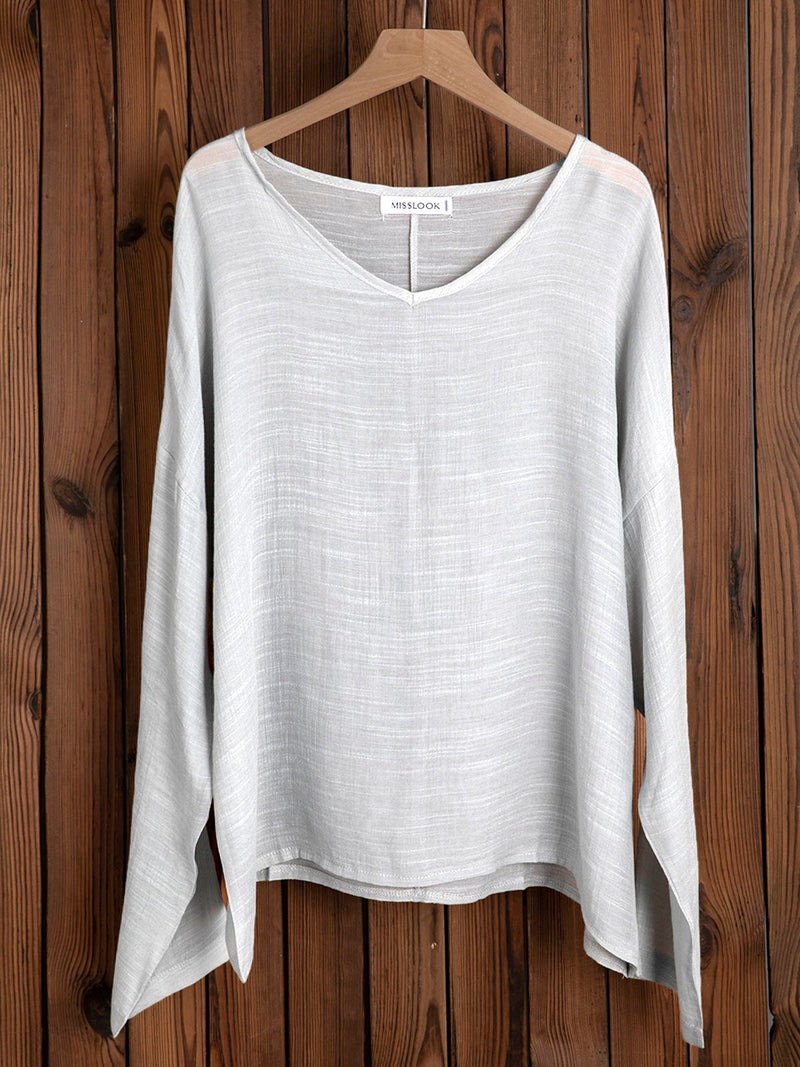 Casual V-neck Long Sleeve Linen Plus Size Blouse