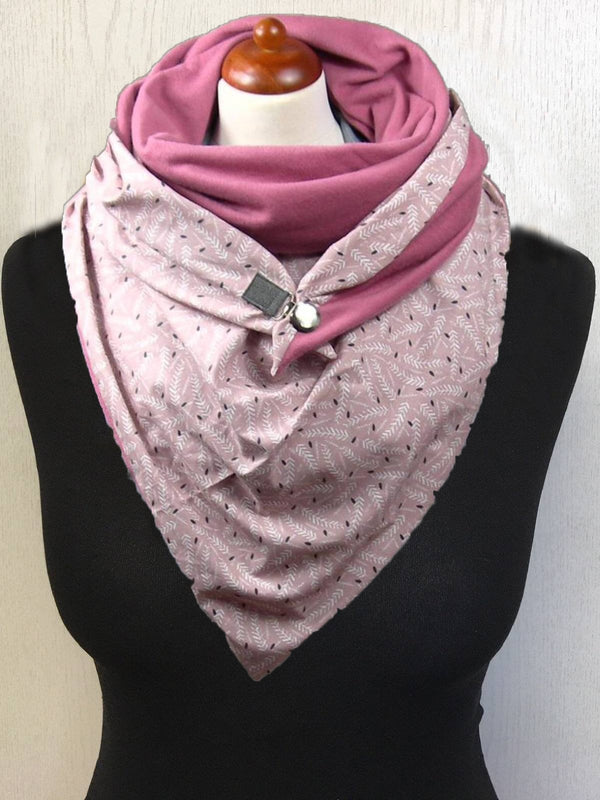 Pink Printed Cotton Casual Scarves