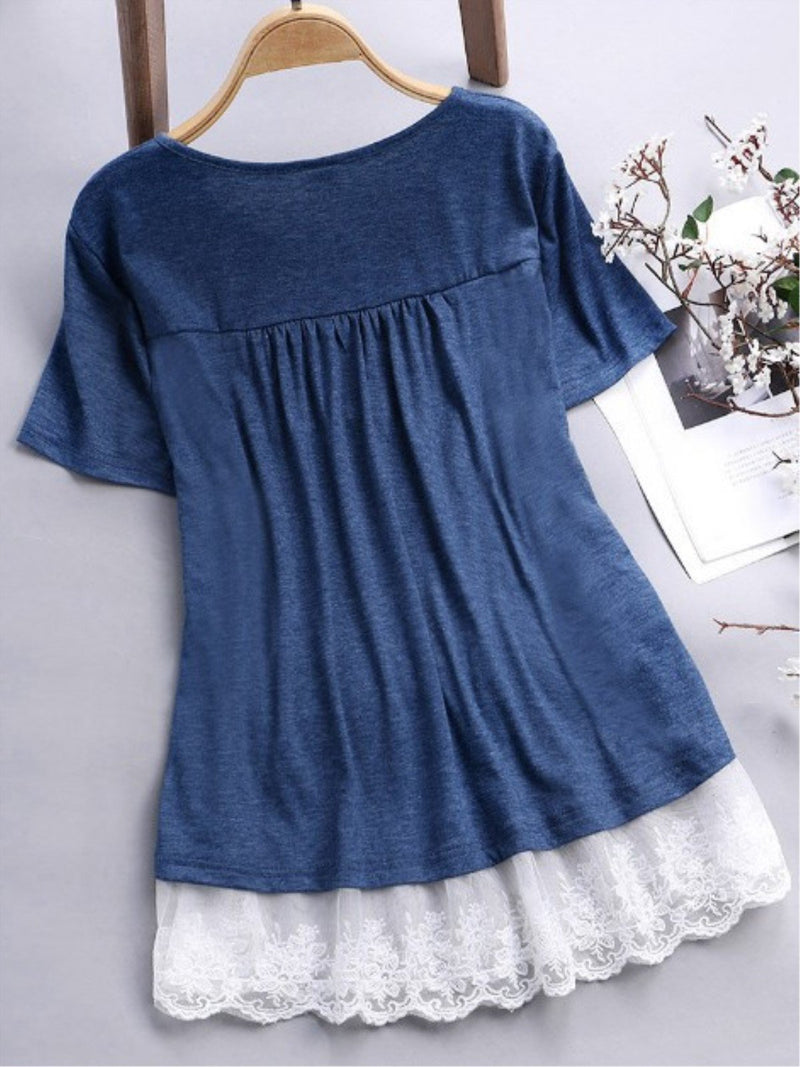 Casual Lace Paneled Short Sleeve Crew Neck Shirt