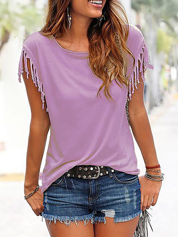 Fringed T-shirt With Tassel Details
