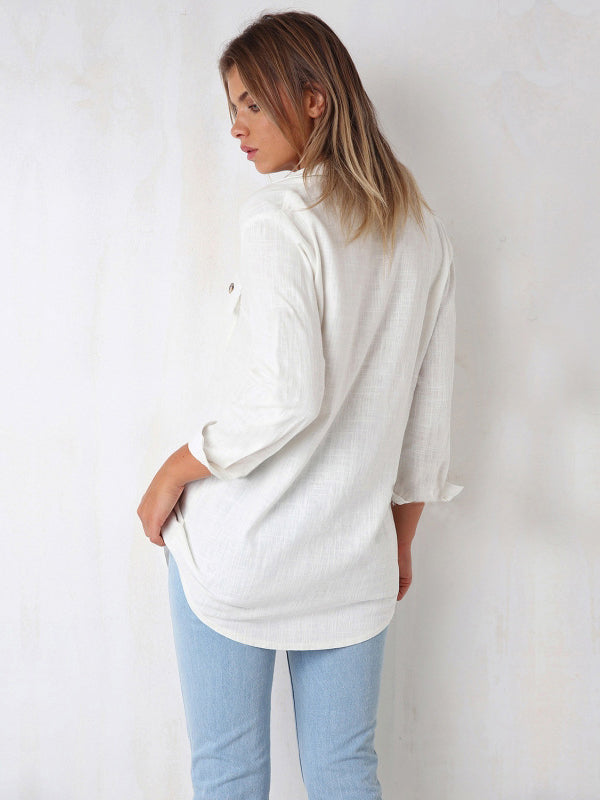 Solid Casual V Neck Cotton Tops