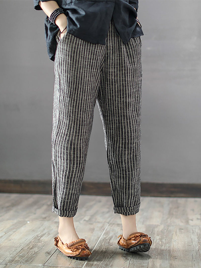 Casual  Lightweight Striped Pants