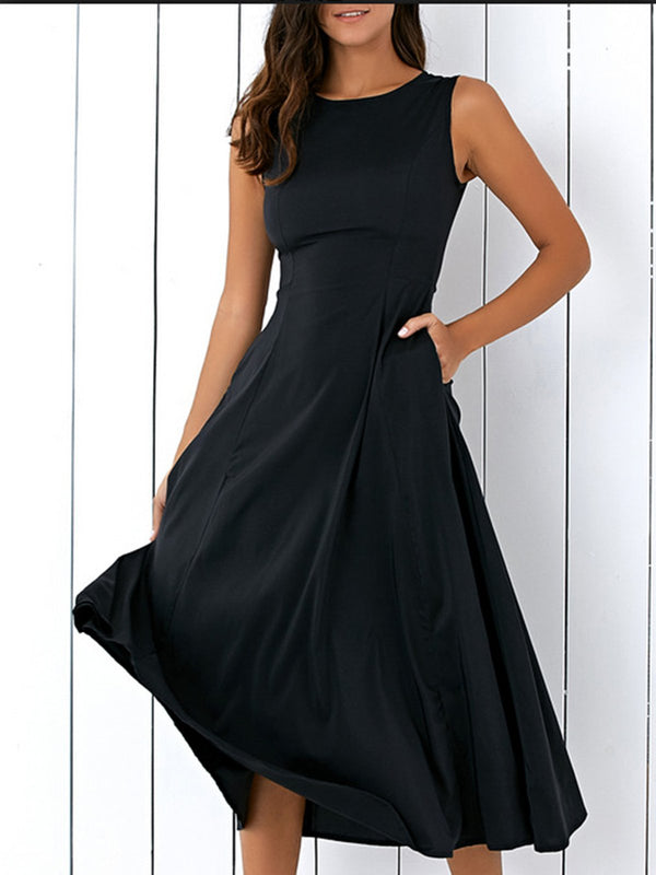 Black Solid Sleeveless Pockets Crew Neck Dress