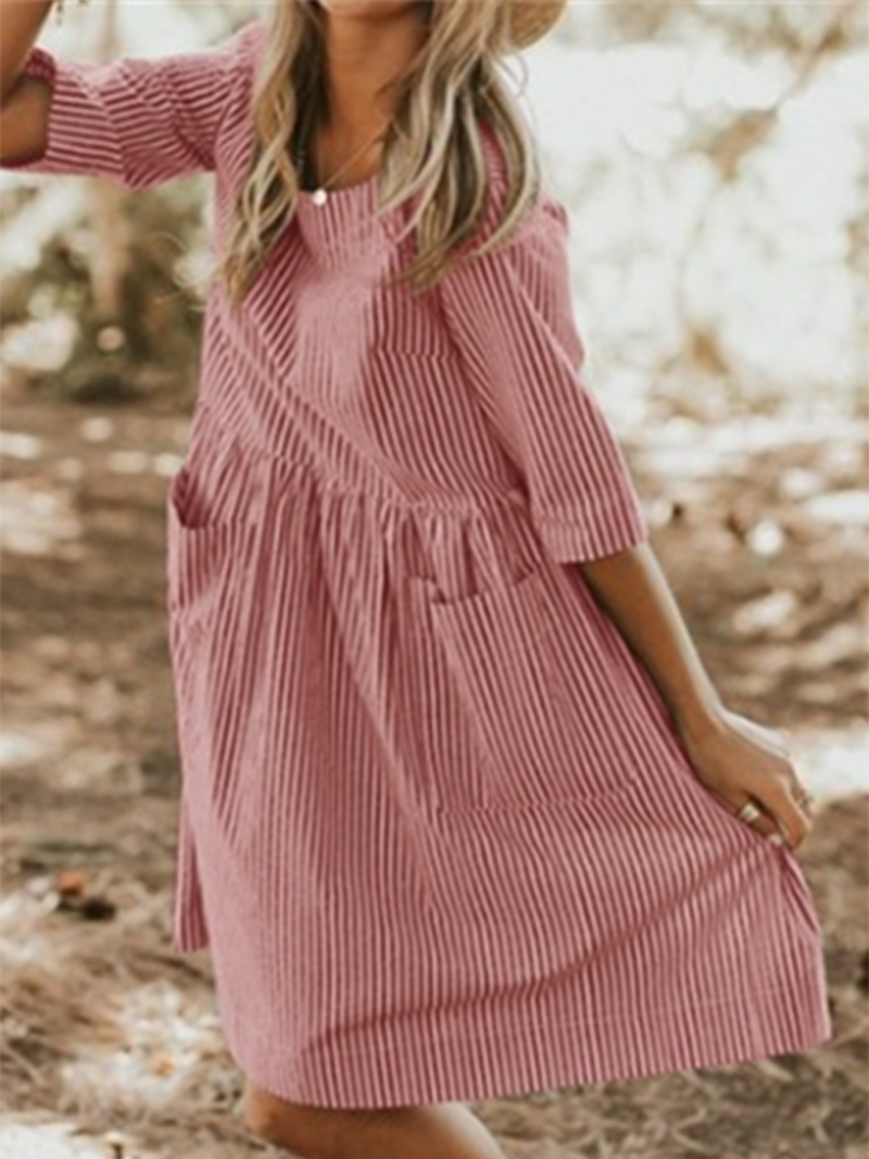 Women Crew Neck Women Summer Dresses A-Line Daily Dresses