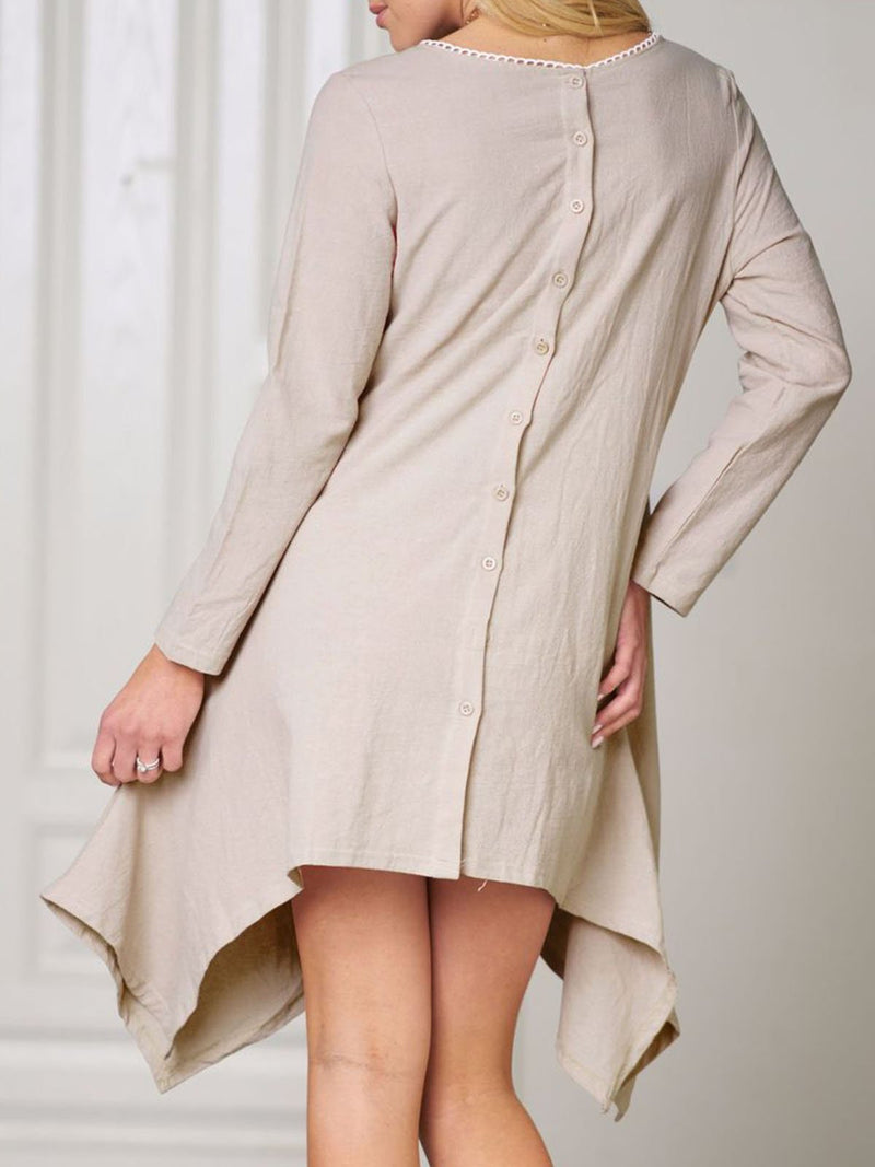 Plus Size Women Asymmetrical Daytime Long Sleeve Casual Linen Dress