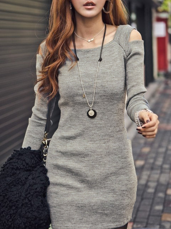 Cold Shoulder Women  Casual Jersey Knitted Solid Dress