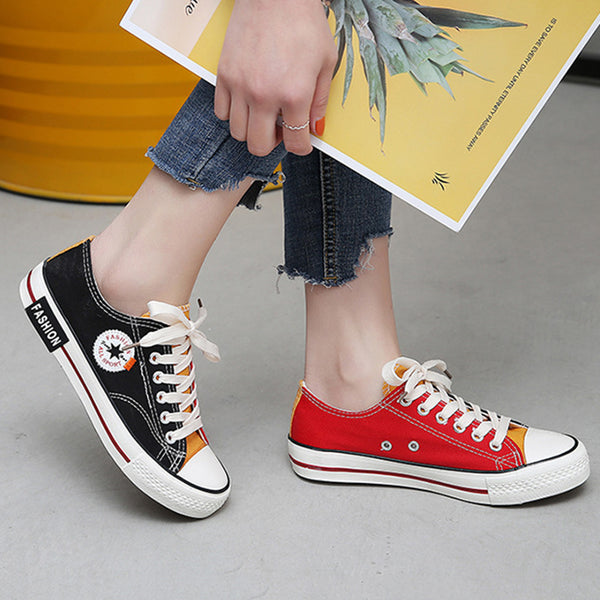 All Season Color Block Round Toe Lace-Up Canvas Sneakers