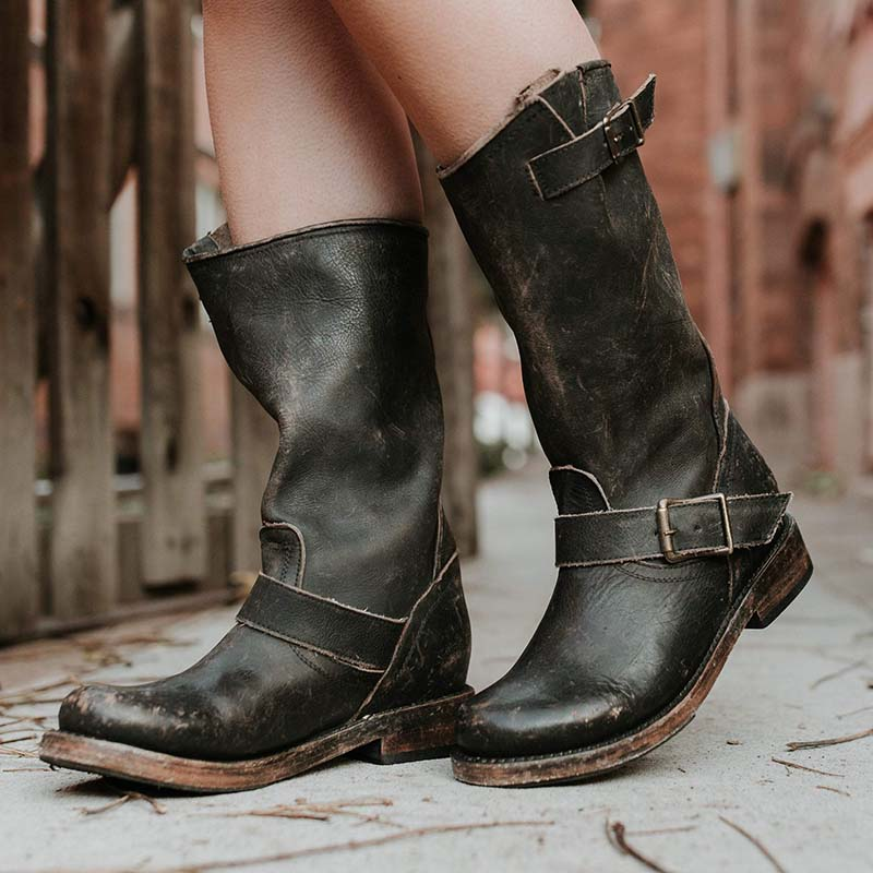 Women Comfort Slip On Boots Adjustable Buckle Low Heel Boots