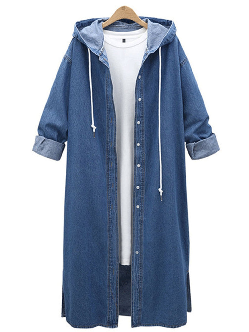 Long Sleeve Solid Shift Casual Hoodie Plus Size Coat