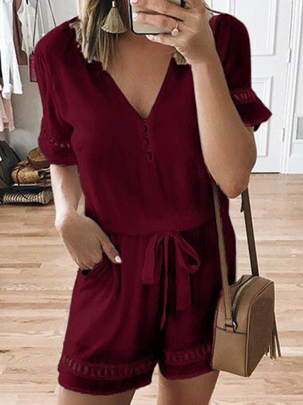 Drawstring Chiffon Short Sleeve Casual Pockets Jumpsuits