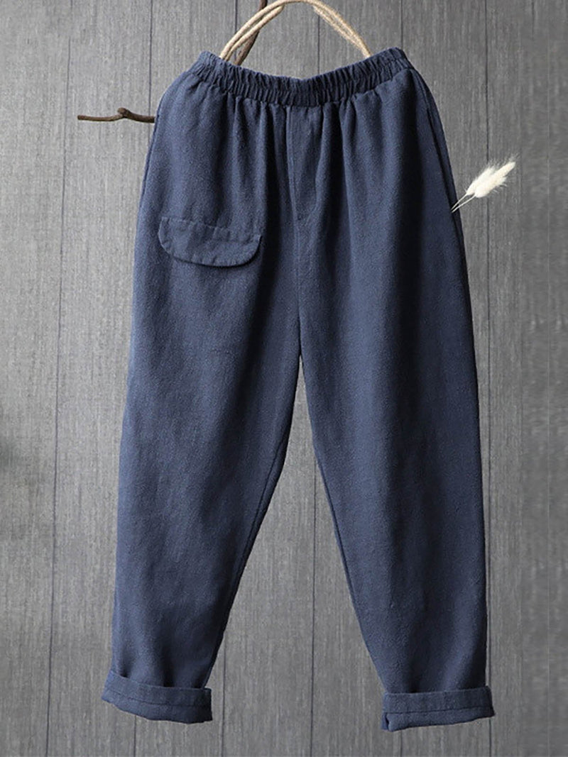 Women's New Solid Color Cotton Comfortable Casual Multi-bag Harem Pants