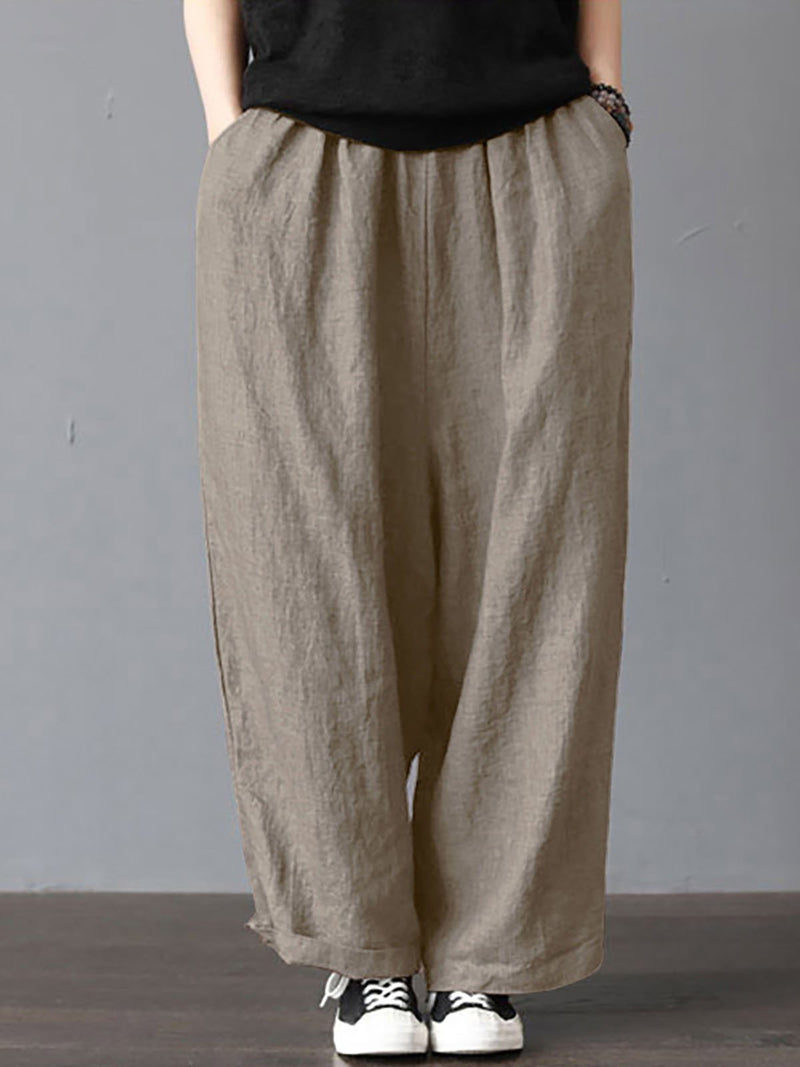 Women Daily Long Pants All Season Linen Loose Cozy Bottoms