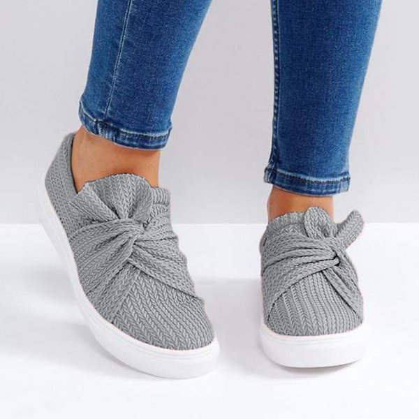 gaminegal Women Knitted Twist Pink Slip On Sneakers