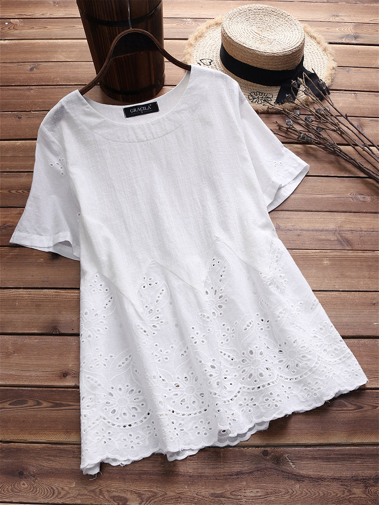 Laced Hollow Embroidered Short Sleeve Vintage Blouses