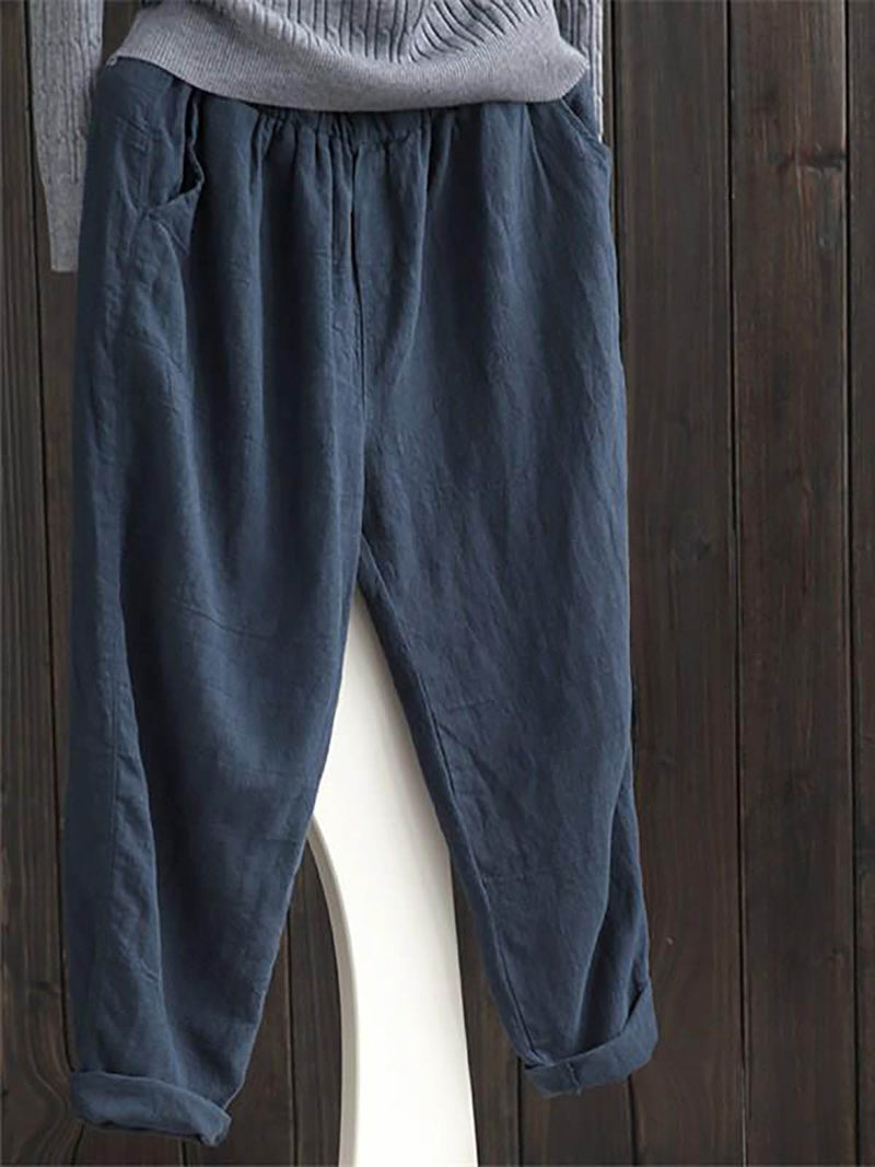 Casual Plain Pockets Women Pants
