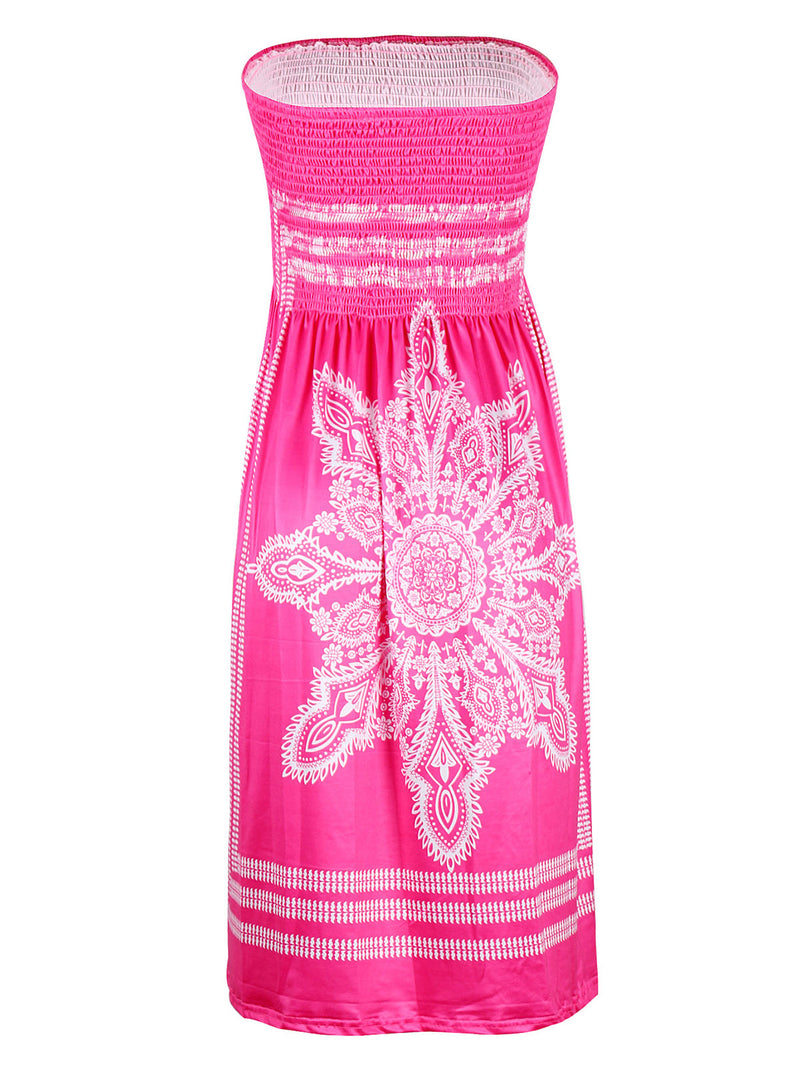 Strapless   Women Daily Basic Sleeveless Printed Tribal Floral Dress