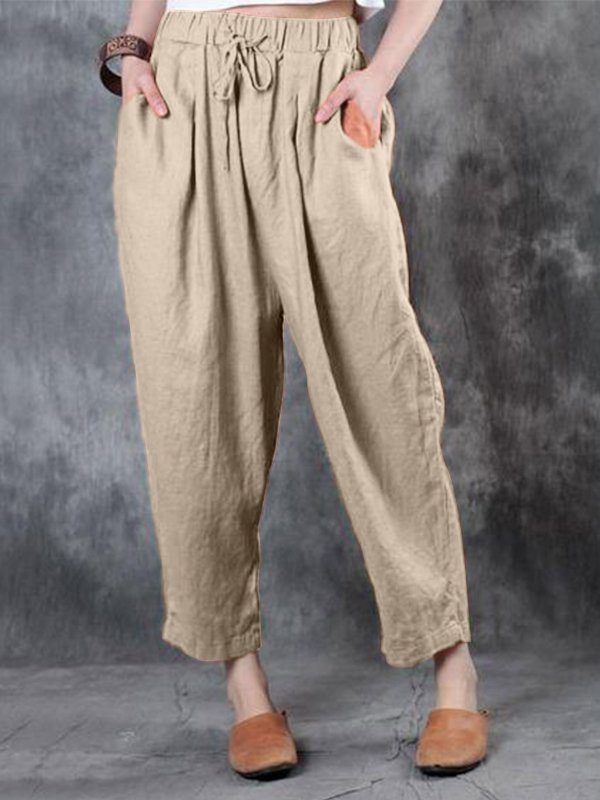 Casual Solid Plus Size Pants