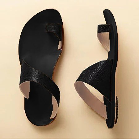 Daily Leather Flat Heel Toe Ring Slippers