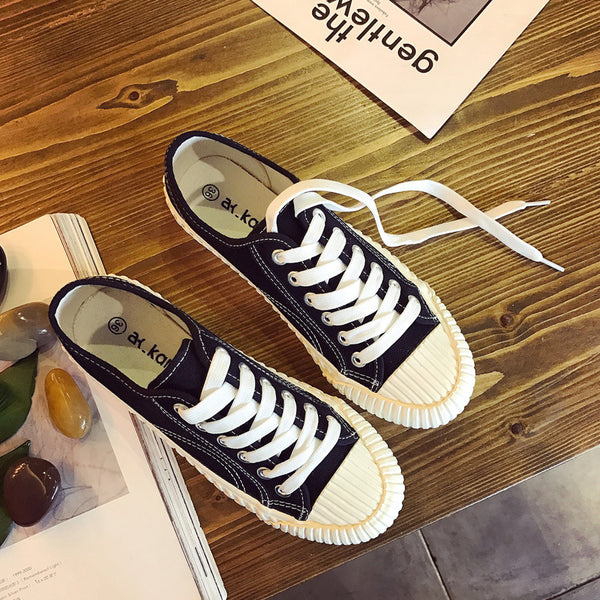 Canvas  Lace-up Flat Heel All Season Sneakers