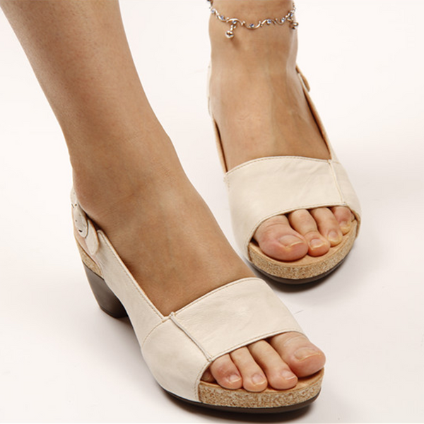 Women Elegant Low Chunky Heel Comfy Sandals