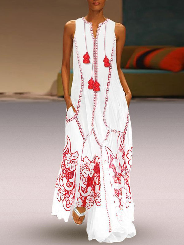 Women Plus Size White Casual Sleeveless Floral Linen Maxi Dresses