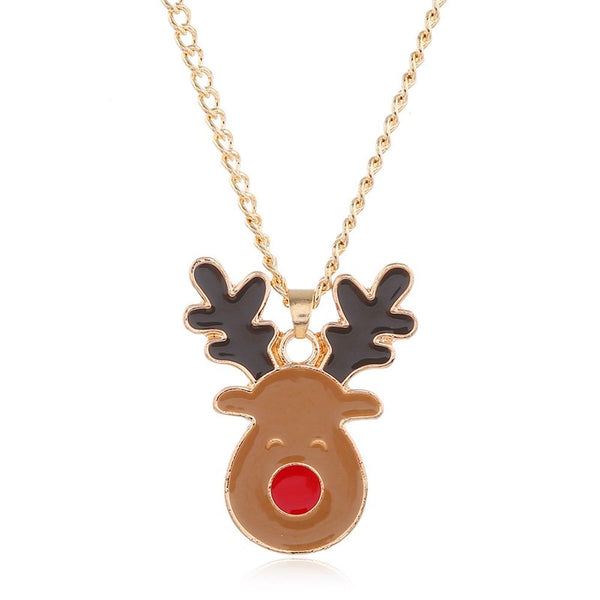 Christmas Moose Earrings Necklace Sets