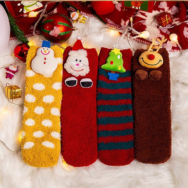 3D Cartoon Christmas Stockings Thick Coral Velvet Sleep Socks
