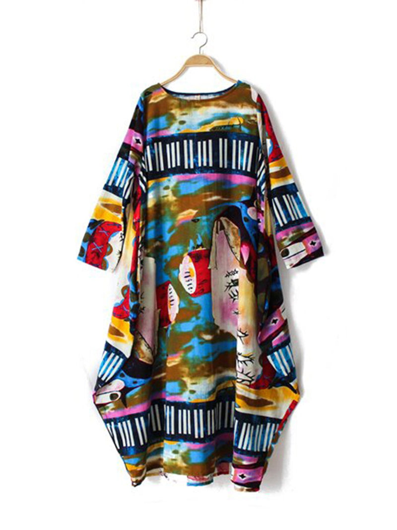 Plus Size Cocoon Daily Cotton 3/4 Sleeve Printed Abstract Dress