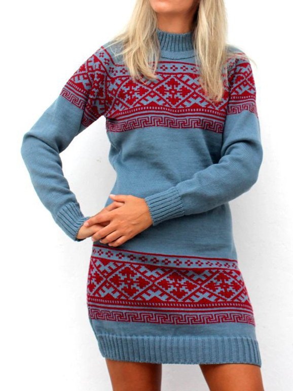 Blue Tribal Casual Dresses